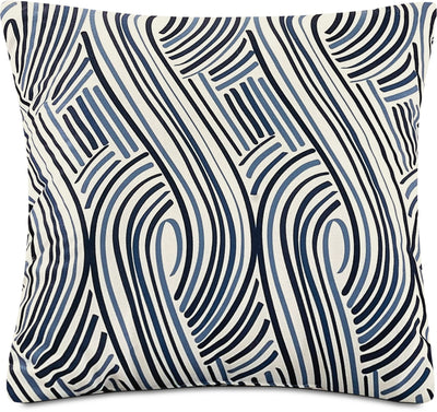 Swizzle Accent Pillow – White, Blue and Black|Coussin décoratif tourbillon - blanc, bleu et noir|792910DP