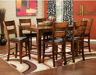 Dakota Light 7-Piece Pub-Height Dining Package - Contemporary style Dining Room Set in Light Cherry