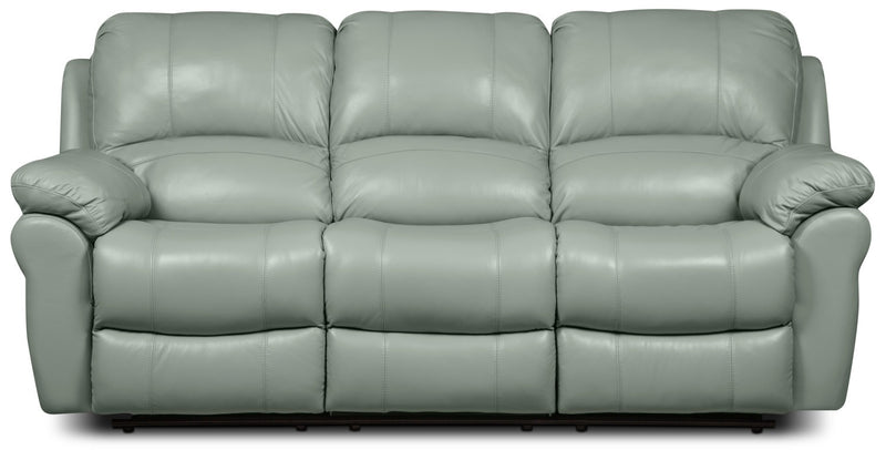 Kobe Genuine Leather Reclining Sofa – Blue|Sofa inclinable Kobe en cuir véritable - bleu