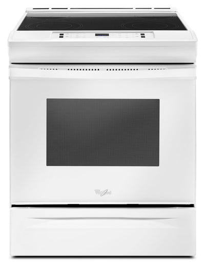 Whirlpool® 4.8 Cu. Ft. Guided Electric Front Control Range with the Easy-Wipe Ceramic Glass Cooktop - Electric Range in White