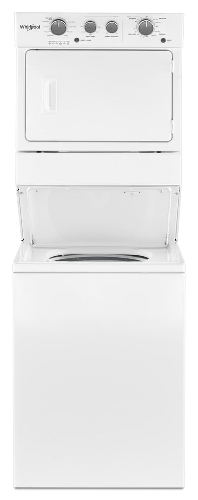 Whirlpool 4.0 cu.ft Gas Stacked Laundry Center 9 Wash cycles and AutoDry™ - WGT4027HW|Whirlpool Centre de lavage superposé au gaz de 4,0 pi³ avec lave-vaisselle|WGT4027H