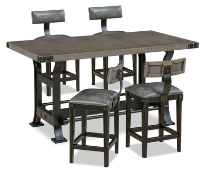 Ironworks 5-Piece Counter-Height Dining Package - Industrial style Dining Room Set in Grey Rubberwood Solids and Metal
