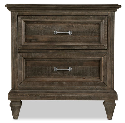 Calistoga Nightstand - Weathered Charcoal - Rustic style Nightstand in Charcoal Pine Solids