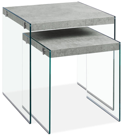 Yonah 2-Piece End Table – Cement Grey|Ensemble 2 tables de bout Yonah – gris ciment|YONCMNST