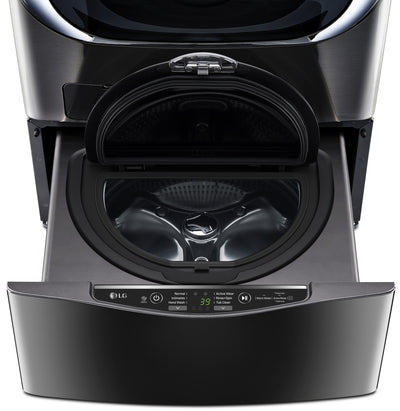 "LG TWIN Wash™ 1.1 Cu. Ft. SideKick™ 27"" Pedestal Washer - WD100CK - Washer in Black Stainless Steel"