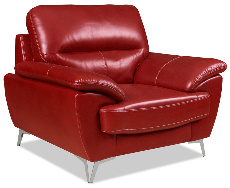 Olivia Leather-Look Fabric Chair – Red|Fauteuil Olivia en tissu d'apparence cuir - rouge