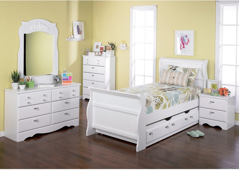 Diamond Dreams 7-Piece Twin Trundle Sleigh Bed Package|Ensemble de chambre à coucher Diamond Dreams 7 pièces avec lit-bateau gigogne simple