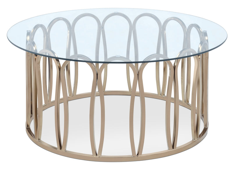 Deon Coffee Table - Glam style Coffee Table in Gold Metal and Glass