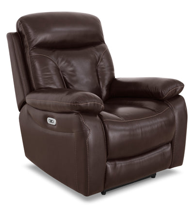 Hayes Genuine Leather Power Reclining Chair – Brown - Contemporary style Chair in Brown