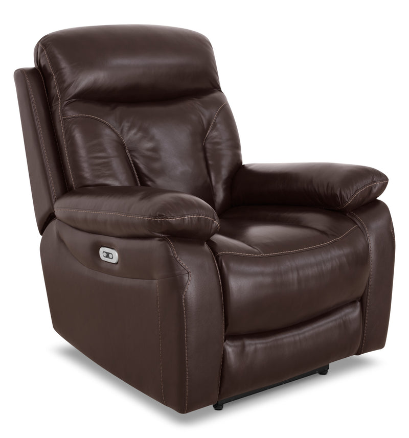 Hayes Genuine Leather Power Reclining Chair – Brown|Fauteuil à inclinaison électrique Hayes en cuir véritable - brun