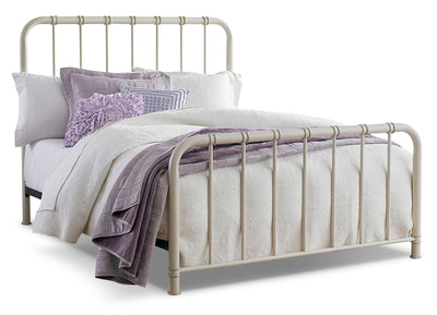Tristan Queen Metal Bed - Antique White|Grand lit Tristan en métal Tristan - blanc|8757WQBD