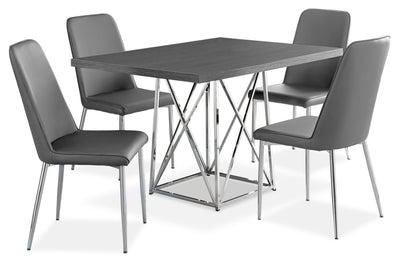 Marco 5-Piece Dining Package – Grey - Modern style Dining Room Set in Grey Particleboard and Metal