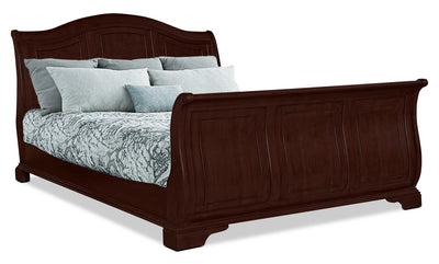 Carmen King Sleigh Bed – Cherry - Traditional style Bed in Cherry Poplar Solids and Birch Veneers