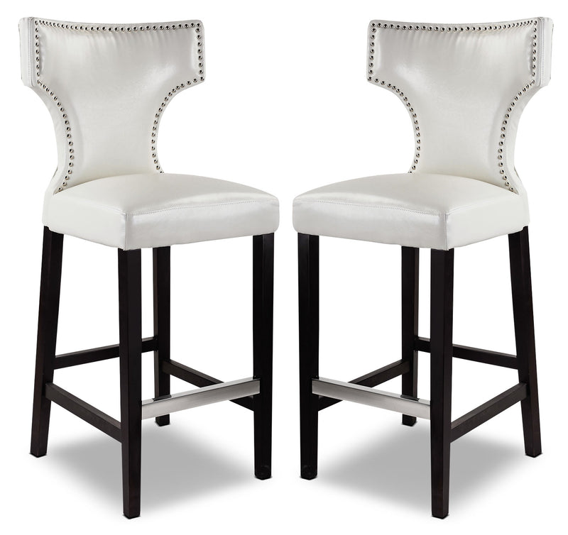 Kings Bar Stool with Metal Studs, Set of 2 – White|Tabouret bar Kings avec clous décoratifs en métal, ensemble de 2 - blanc