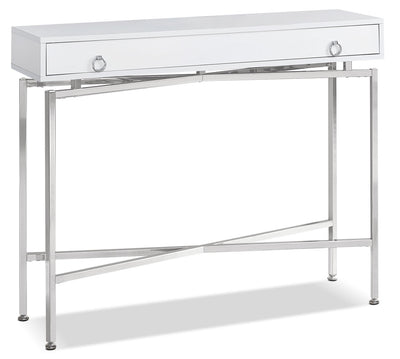 Acampo Console Table - Modern style Hall Table in White Metal