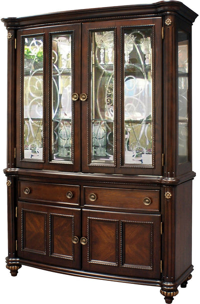 Newcastle Buffet and Hutch - Traditional style Buffet and Hutch in Brown Oak