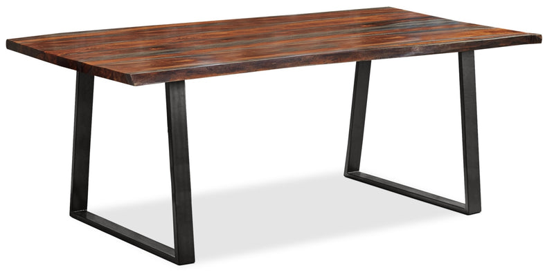Bowery Dining Table - Industrial style Dining Table in Rustic Brown Metal and Wood