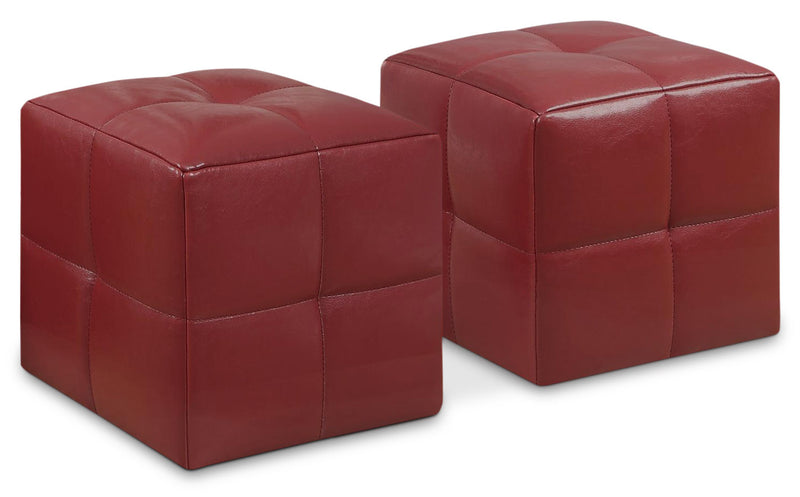 Mili 2-Piece Ottoman Set – Red|Ensemble de poufs Mili 2 pièces – rouge