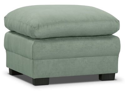 Peyton Microsuede Ottoman - Blue Mist - Contemporary style Ottoman in Blue Mist