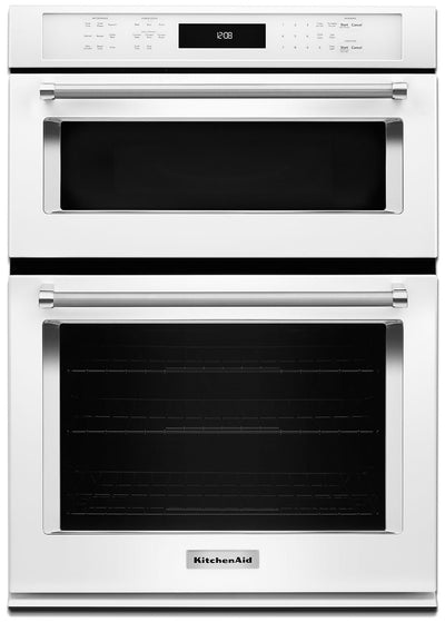 "KitchenAid 30"" Double Wall Oven with Microwave and Conventional Oven - KOCE500EWH - Double Wall Oven in White"