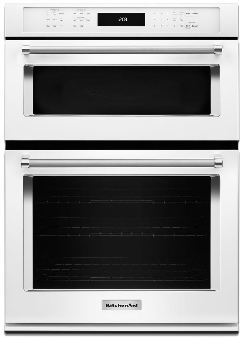 "KitchenAid 30"" Double Wall Oven with Microwave and Conventional Oven - White