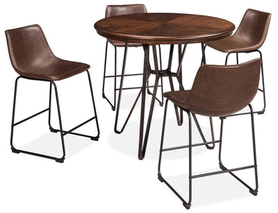 Centiar 5-Piece Counter-Height Dining Package - Industrial style Dining Room Set in Medium Brown Engineered Wood and Metal