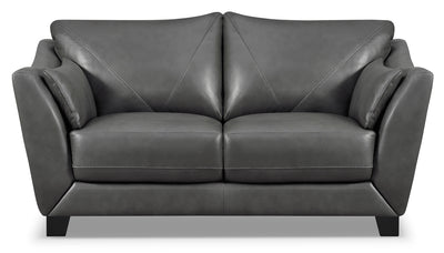 Laken Genuine Leather Loveseat – Grey - Modern style Loveseat in Grey