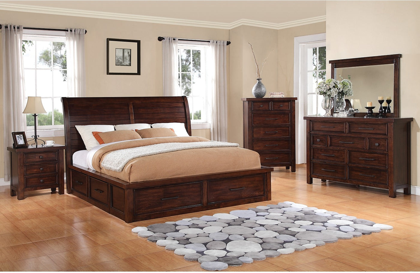 Sonoma 8 Piece King Storage Bedroom Set Dark Brown