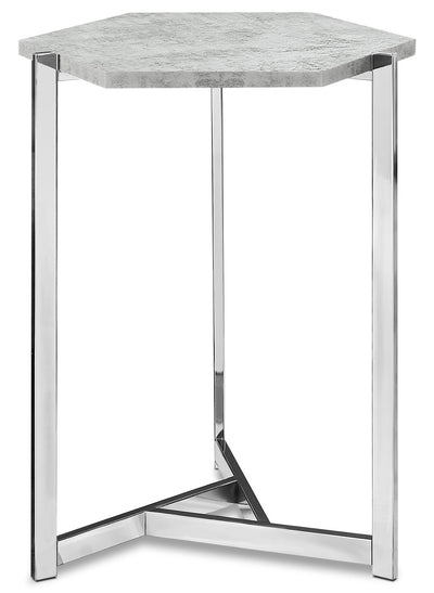Atka Accent Table – Cement Grey - Modern style End Table in Light Grey Metal