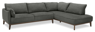 Gena 2-Piece Linen-Look Fabric Right-Facing Sectional – Charcoal - Modern style Sectional in Charcoal