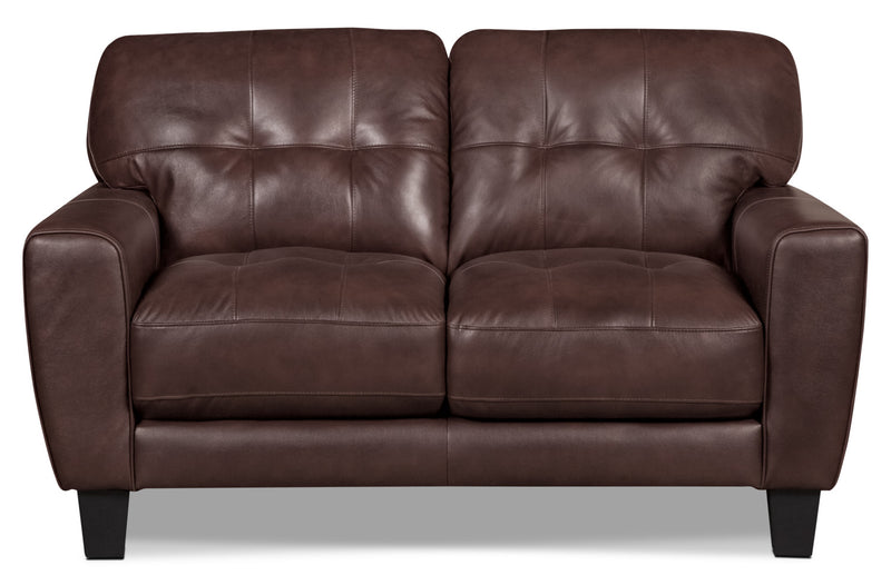 Abby Genuine Leather Loveseat – Brown|Causeuse Abby en cuir véritable - brun