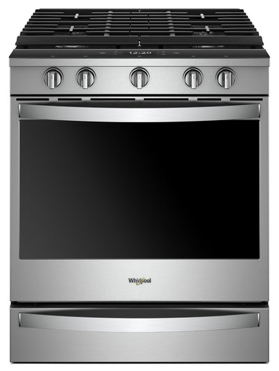 Whirlpool® 5.8 Cu. Ft. Smart Slide-in Gas Range with EZ-2-Lift™ Hinged Cast-Iron Grates - WEG750H0HZ - Gas Range in Stainless Steel