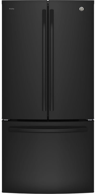 GE Profile 24.5 Cu. Ft. French-Door Refrigerator with Space-saving Icemaker – PNE25NGLKWW - Refrigerator with Exterior Water/Ice Dispenser in Black