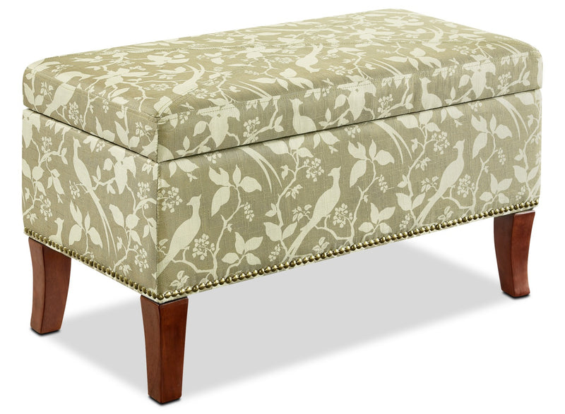 Minneapolis Ottoman - Eclectic style Ottoman in White/Brown Wood and Polyester