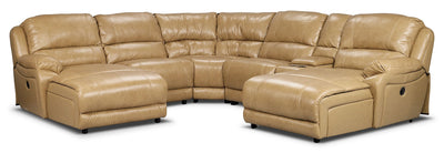 Marco Genuine Leather 6-Piece Sectional with Two Inclining Chaises– Toffee|Sofa sectionnel Marco 6 pièces en cuir véritable avec deux fauteuils longs inclinables - caramel|MARC2O6B