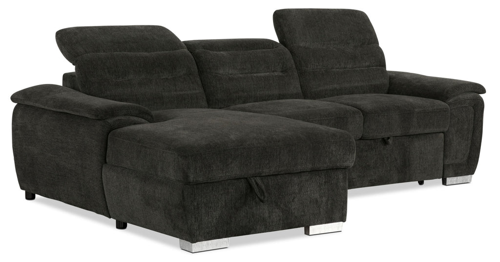 Thad 2 Piece Chenille Left Facing Sleeper Sectional U2013 Grey|Sofa Sectionnel  De