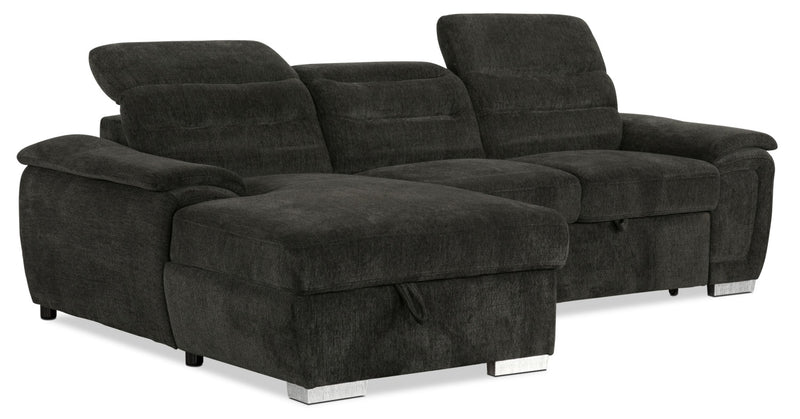 Thad 2-Piece Chenille Left-Facing Sleeper Sectional – Grey|Sofa sectionnel de gauche Thad 2 pièces en chenille avec sofa-lit - gris