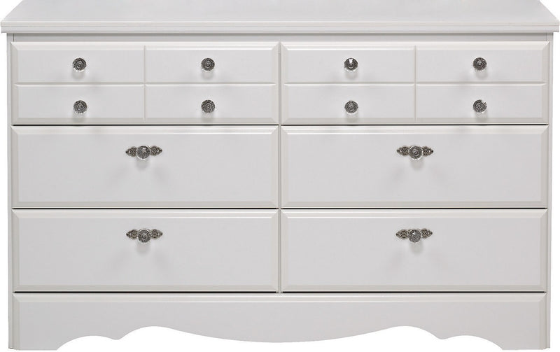 Diamond Dreams 6-Drawer Dresser - Contemporary style Dresser in White
