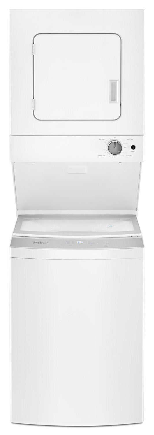 Whirlpool 1.8 Cu.Ft Electric Stacked Laundry with Impeller and Soft-Close Glass Lid Centre Controls- YWET4024HW|Laveuse/sécheuse électriques superposées Whirlpool de 1,8 pi3 - YWET4024HW|YWET424H