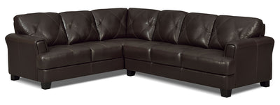 Vita 2-Piece 100% Genuine Leather Left-Facing Sectional – Chocolate|Sofa sectionnel de gauche Vita 2 pièces en cuir 100 % véritable - chocolat|VITACHSL