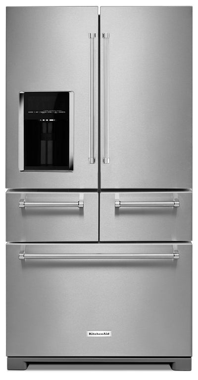 KitchenAid 25.8 Cu. Ft. Multi-Door Refrigerator with Platinum Design - Stainless Steel - Refrigerator with Exterior Water/Ice Dispenser, Ice Maker in Stainless Steel