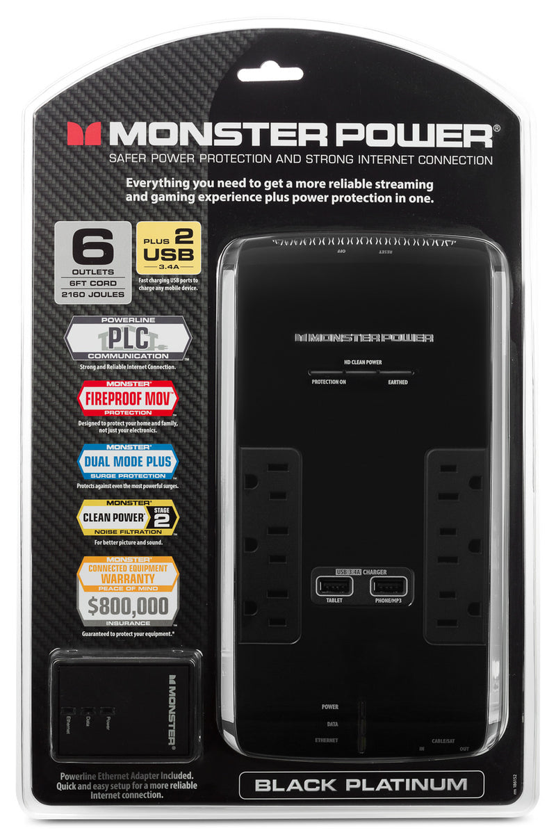 Monster Power® Black Platinum 600 Power Bar|Multiprise Power Black Platinum 600 de Monster