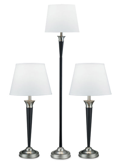 Brushed Steel and Espresso 3-Piece Floor and Two Table Lamps Set|Ensemble de 3 lampes au fini espresso et acier brossé|103685PK
