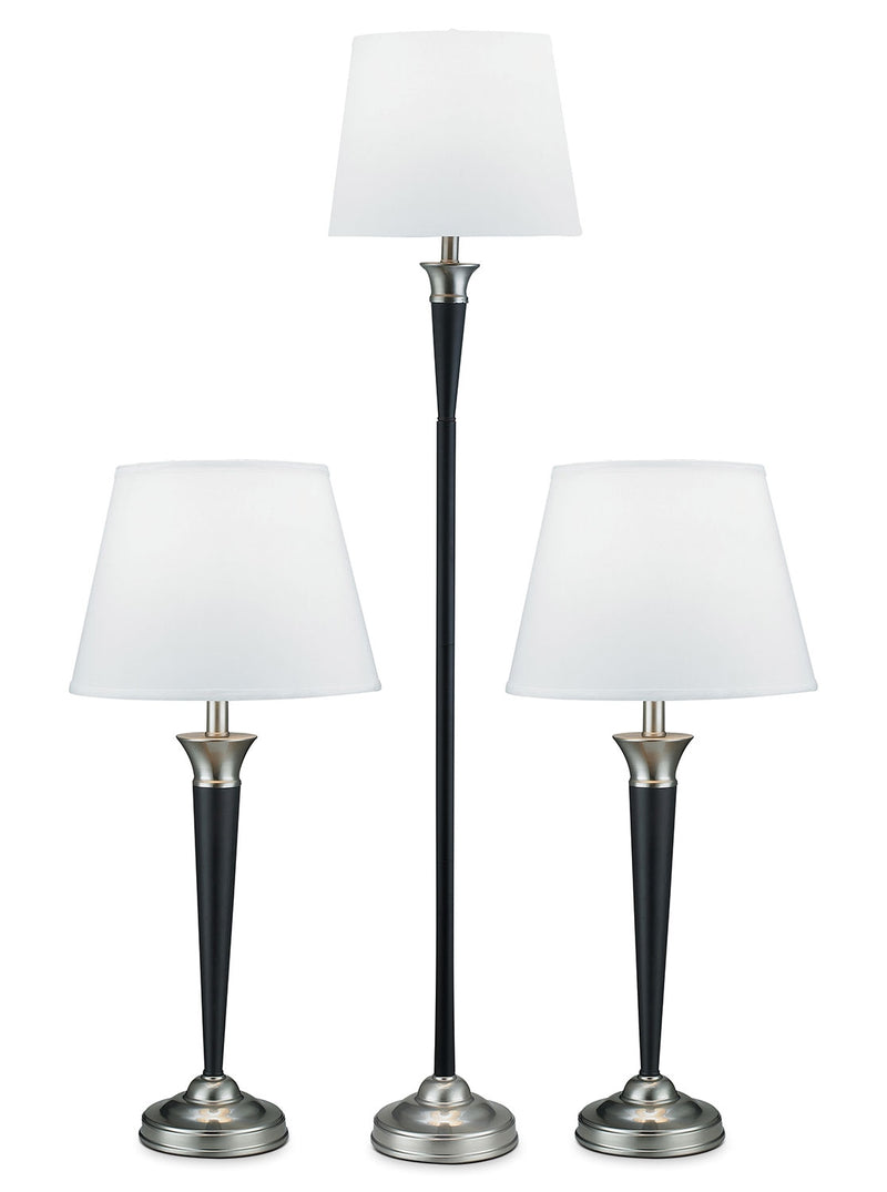 Brushed Steel and Espresso 3-Piece Floor and Two Table Lamps Set|Ensemble de 3 lampes au fini espresso et acier brossé