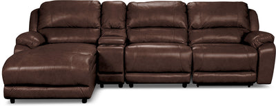 Marco Genuine Leather 4-Piece Sectional with Power Recliner and Console– Chocolate