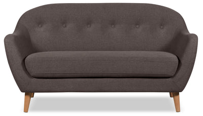 Calla Linen-Look Fabric Loveseat – Dark Grey - Modern style Loveseat in Dark Grey