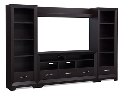 "Sofia 4-Piece Entertainment Centre with 60"" TV Opening - Contemporary style Wall Unit in Espresso"