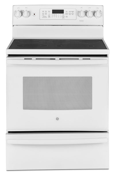 GE 5.0 Cu. Ft. Freestanding Electric Range with Warming Drawer – JCB860DKWW|Cuisinière électrique amovible GE de 5,0 pi3 avec tiroir-réchaud – JCB860DKWW|JCB860KW