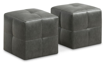 Mili 2-Piece Ottoman Set – Charcoal Grey - Contemporary style Ottoman in Grey