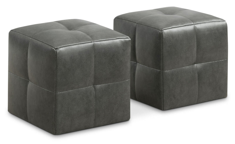 Mili 2-Piece Ottoman Set – Charcoal Grey|Ensemble de poufs Mili 2 pièces – rouge